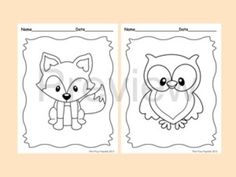 Woodland Forest Animals Coloring Pages 8 Designs Fox Included is part of Woodland Animal crafts - 2 x 11 copy paper Files are PDF and are not editable Graphics by PixelPaperPrints Preschool Coloring Pages, Animal Coloring Pages, Colouring Pages, Coloring Pages For Kids, Coloring Books, Kids Coloring, Theme Forest, Woodland Theme, Woodland Nursery