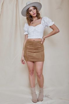 0c87d25a31 Stuck on You Mini Skirt in Taupe. BitterSweet Boutique