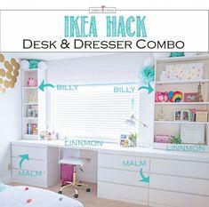 Desk Dresser Combo, White Desk And Dresser, Dresser Table, Dresser Top, Ikea Built In, Desk Hacks, Custom Desk, Bedroom Desk, Ikea Hack Bedroom
