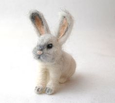 Needle Felted Bunny . Little White Felted Rabbit . by ElisaShine, $36.00