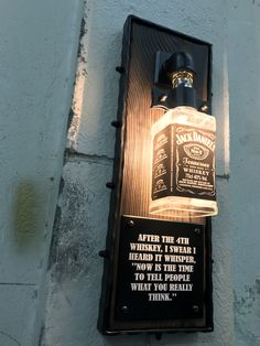 Jack Daniels lamp - All For Decoration Lampe Jack Daniels, Jack Daniels Bottle, Jack Daniels Decor, Liquor Bottle Lights, Liquor Bottles, Diy Home Bar, Bars For Home, Whiskey Dispenser, Diy Luminaire
