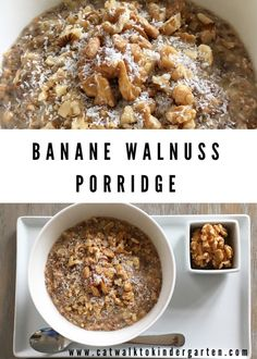 Banane-Walnuss Porridge Fast and healthy porridge recipe with banana and walnuts that helps to lose weight. Gluten-free oat walnut breadBreakfast Banana split with MaraNatha almond extraordinary porridge recipes Healthy Vegetarian Breakfast, Healthy Breakfast Smoothies, Healthy Breakfast Recipes, Healthy Recipes, Quick Recipes, Healthy Food, Healthy Porridge Recipe, Porridge Recipes, Quick Easy Healthy Meals