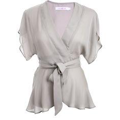 ALICE & TRIXIE Sayuri Kimono Grey Top ($300) ❤ liked on Polyvore