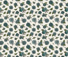 Flower Doodles - Teals on Creme fabric by jesseesuem on Spoonflower - custom fabric