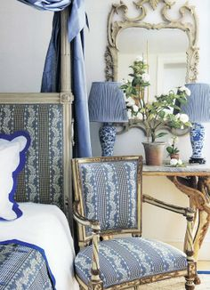 I have always been captivated by all things blue and white. The combination  is such a timeless,classic look. I enjoy using dead gray and white gesso furniture with very committed patterns of blue and white. Here are several amazing examples of blue and white with cream and gilt. I especially love the French gray color on the trumeau and  bed. In Carolyne Roehm's book, A Passion for Interiors. I find a great deal of inspiration from her rooms for my painted furniture designs.