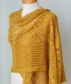 Lace knitted shawl mustard yellow by Berniolie on Etsy, $85.00