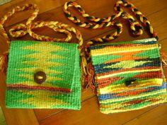 100% Wool hand woven purse
