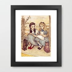 Dorothy and Alice Framed Art Print by Helen Green - $32.00