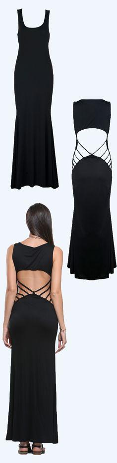 Black backless maxi dress USD 16.99
