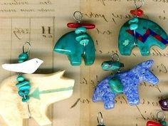 Southwest-Fetish-Charm-Pendants-Horse-Zuni-Bears-Fox-Fish-Turquoise-Coral-Inlay