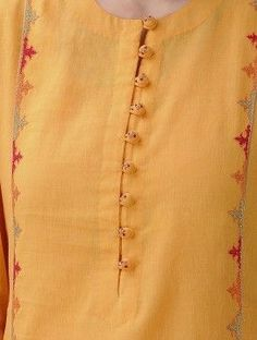 Mustard Hand-Embroidered Cotton Mul Kurta with Slip (Set of 2 Salwar Neck Designs, Churidar Designs, Kurta Neck Design, Neckline Designs, Kurta Designs Women, Dress Neck Designs, Blouse Designs, Kurti Sleeves Design, Sleeves Designs For Dresses