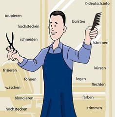 Der Friseur - verbs: blondieren = to dye one's hair blond; bürsten = to brush; färben = to dye; flechten = to plait; föhnen = to blow-dry; frisieren = to do sb's hair; hochstecken = to put one's hair up; kämmen = to comb; kürzen = to make shorter; German Grammar, German Words, Learn German, Learn French, French Lessons, Spanish Lessons, German Resources, German Language Learning, English Language