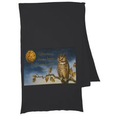 Owl Autumn Leaves Jack O Lantern Pumpkin Scarf Wraps