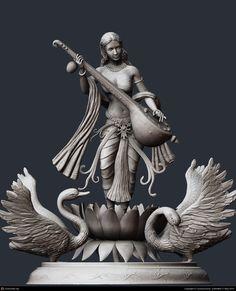 Goddess Saraswathi with swans