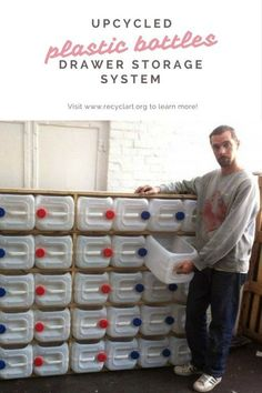 Thomas made this storage system from 40 big plastic bottles he found in a container. This kind of bottles is … Thomas made this storage system from 40 big plastic bottles he found in a container. This kind of bottles is … Garage Tool Storage, Workshop Storage, Garage Tools, Shed Storage, Garage Workshop, Garage Organization, Storage Drawers, Diy Storage, Recycling Storage