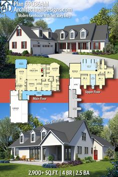 Architectural Designs Modern Farmhouse Home Plan 69036AM has 4 beds and 2.5 baths and over 2,900 sq.ft of heated living space. Ready when you are. Where do YOU want to build? #69036AM #adhouseplans #architecturaldesigns #houseplan #architecture #newhome #newconstruction #newhouse #homedesign #dreamhome #dreamhouse #homeplan #architecture #architect #houses #Modernfarmhouse #Farmhousestyle