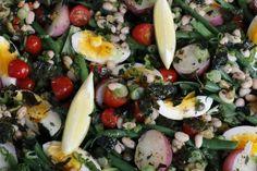 "White and Green Bean Vegetarian ""Salade Nicoise"""