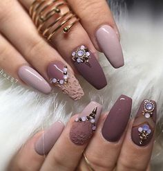 Embossed nails and nail parts with much rhinestones can be a very good choice. If you are a fan of the pastel colors here's an idea for you this month's manicure.