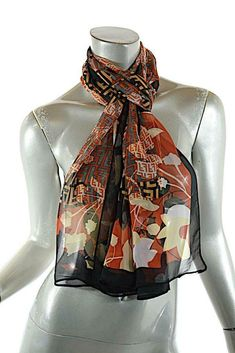 3a11f2f5b364b FENDI Paris Multi Color 100% Silk Signature Logo + Fauna Pattern Scarf 64
