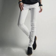 >> Click to Buy << Men White Skinny Jeans Slim Fit Mens Denim Pants Pencil Pants New 2017 Korean Fashion Elastic White Jeans Free Shipping #Affiliate