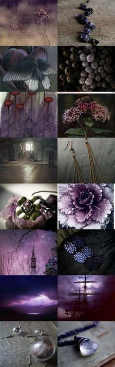 MORNING GIRLS ♥ What an absolutely Stunning board for Jan yesterday! It turned out SO pretty ♥ I'm going to making a board of it on my newest profile. Thank you, Jan xo. TODAY, I POURED OVER MANY COLLAGES and MOOD BOARDS BUT KEPT COMING BACK TO THIS ONE....SO LET'S PIN THESE SHADES OF PURPLE, AUBERGINE, a BIT OF LIGHTER CREAM-ISH, VARIOUS SHADES OF GREY and a LITTLE DARK GREEN ~ Should make for a nice, rich board ♥ Let's all send healing wishes to our J Babe, too xoxo