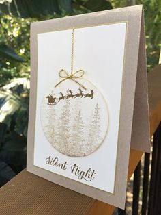 "handmade Christmast card from The Crafty Crafter ... neutrals ... luv the shadowy stamped trees on die cut bauble ... stamped Santa and sleigh on top ... great card! ... Stampin"" Up!"