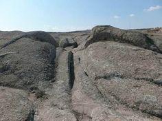 Wheel ruts in stone, in the Phrygian Valley, Turkey. (Courtesy of Dr. Alexander Koltypin)