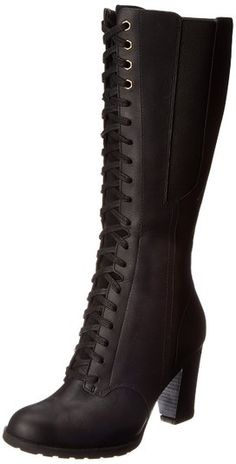 Timberland Women's EK Stratham Heights Tall WP Boot,Black,8.5 M US