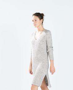 ZARA - WOMAN - RIBBED V-NECK DRESS