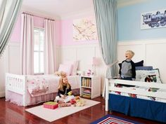 "Genevieve and Crawford's shared bedroom gets its character from pom-pom-trimmed divider curtains and molding that stretches almost 6 feet high. ""I saw similar paneling in a catalog and loved the look,"" says Dana. The trend-proof Pottery Barn Kids beds don't match but seem like a set because they have the same simple lines and color."