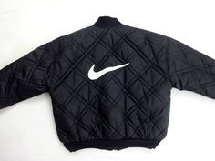 Nike Men's Reversible Quilted Black Bomber Jacket Coat Large Swoosh 90s Vintage | eBay