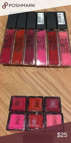 Maybelline vivid matte liquid bundle 6 different colors all new never used.. retail 6-8$ each Makeup Lip Balm & Gloss