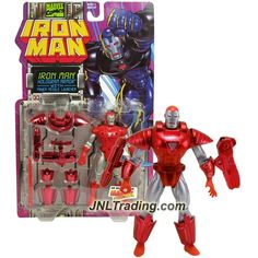 ToyBiz Year 1995 Marvel Comics IRON MAN Series 5 Inch Tall Action Figure - HOLOGRAM ARMOR IRON MAN with Power Missile Launcher and 1 Missile