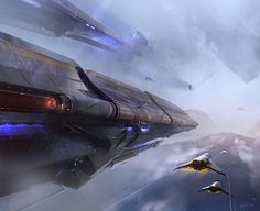 Large craft and smaller fighters traveling through clouds.