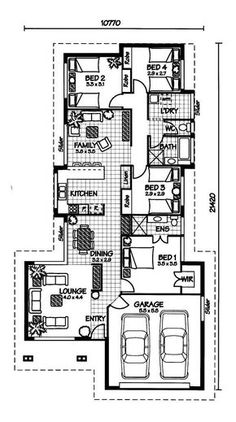 The Brampton « Australian House Plans This is my absolute favorite plan yet! Not too big, but still enough personal space. and I love water closets! 2 Bedroom House Plans, Ranch House Plans, New House Plans, Dream House Plans, Modern House Plans, Australian House Plans, Australian Homes, Log Cabin Floor Plans, House Floor Plans