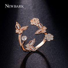 Newbark pretty fly butterfly anillo cz diamond joyería regalos de navidad de calidad superior de cobre con oro color anillos abiertos de la joyería