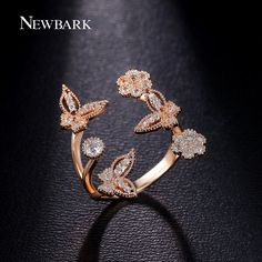 NEWBARK Pretty Fly Butterfly Ring Top Quality CZ Diamond Jewelry Christmas Gifts Copper With Gold Plated Open Rings Jewelry