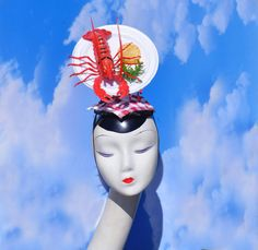 Red Lobster Dinner Plate Fascinator Pop Surrealist by FabHatters