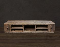 Reclaimed Wood Media Console / TV Stand on Etsy, $1,445.00 Media console. Add legs for height: