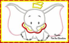 Dumbo Flying  Elephant Digital Embroidery Machine Applique Design File 5x7 6x10 by Thanks4TheAdventure on Etsy