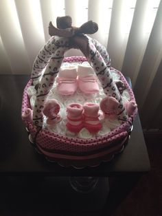 SALE!!! Leopard Diaper Cake Basket (Pink&Brown) - http://www.babyshower-decorations.com/sale-leopard-diaper-cake-basket-pinkbrown.html