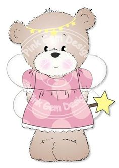 Digital (Digi) Fairy Bella  Teddy Bear Stamp. Makes Cute Papercraft and Digital Scrapbooking Projects. Teddy Bear