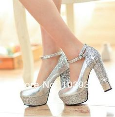 Thick Heel Silver Shoes