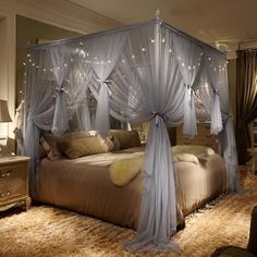 Buy 4 Corner Poster Princess Bed Curtain Canopy Mosquito Netting With Led Light at Wish - Shopping Made Fun Curtains Around Bed, Canopy Bed Curtains, Canopy Bedroom, Room Ideas Bedroom, Home Decor Bedroom, Teen Canopy Bed, 4 Poster Bed Canopy, Bed Canopy With Lights, Light Canopy