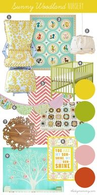 Mood Board: Sunny Woodland Nursery - Our DIY House by The DIY Mommy. Sorbet inspired shades of yellow, pink, coral and mint with retro woodland animals make a fun and sweet little nursery.