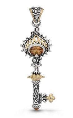 Peacock Key Pendant – Diamond & Citrine – Barbara Bixby