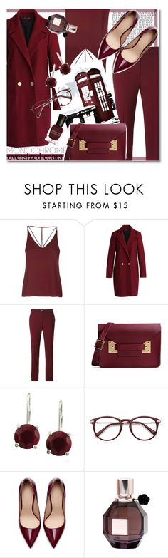 """Cherry Wine"" by carnivalofrust ❤ liked on Polyvore featuring Whiteley, Topshop, Chicwish, P.A.R.O.S.H., Sophie Hulme, Zara, Viktor & Rolf, Deborah Lippmann, monochrome and coat"