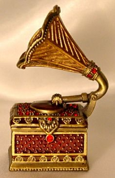 Red Crystal Phonograph Trinket Jewelry Ring Box - a great gift idea for someone who loves music.
