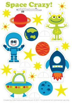 Space Crazy - free printable space characters to print and play with Space Preschool, Space Activities, Activities For Kids, Crafts For Kids, Space Character, Outer Space Theme, Space Aliens, Space Party, Space Crafts