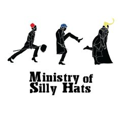 Ministry of Silly Hats. The Doctor and his fez, Sherlock and his death Frisbee, and Loki wearing his horns.